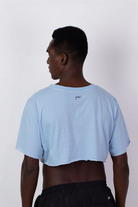 CAMISETA CROPPED BUTTERFLY AZUL