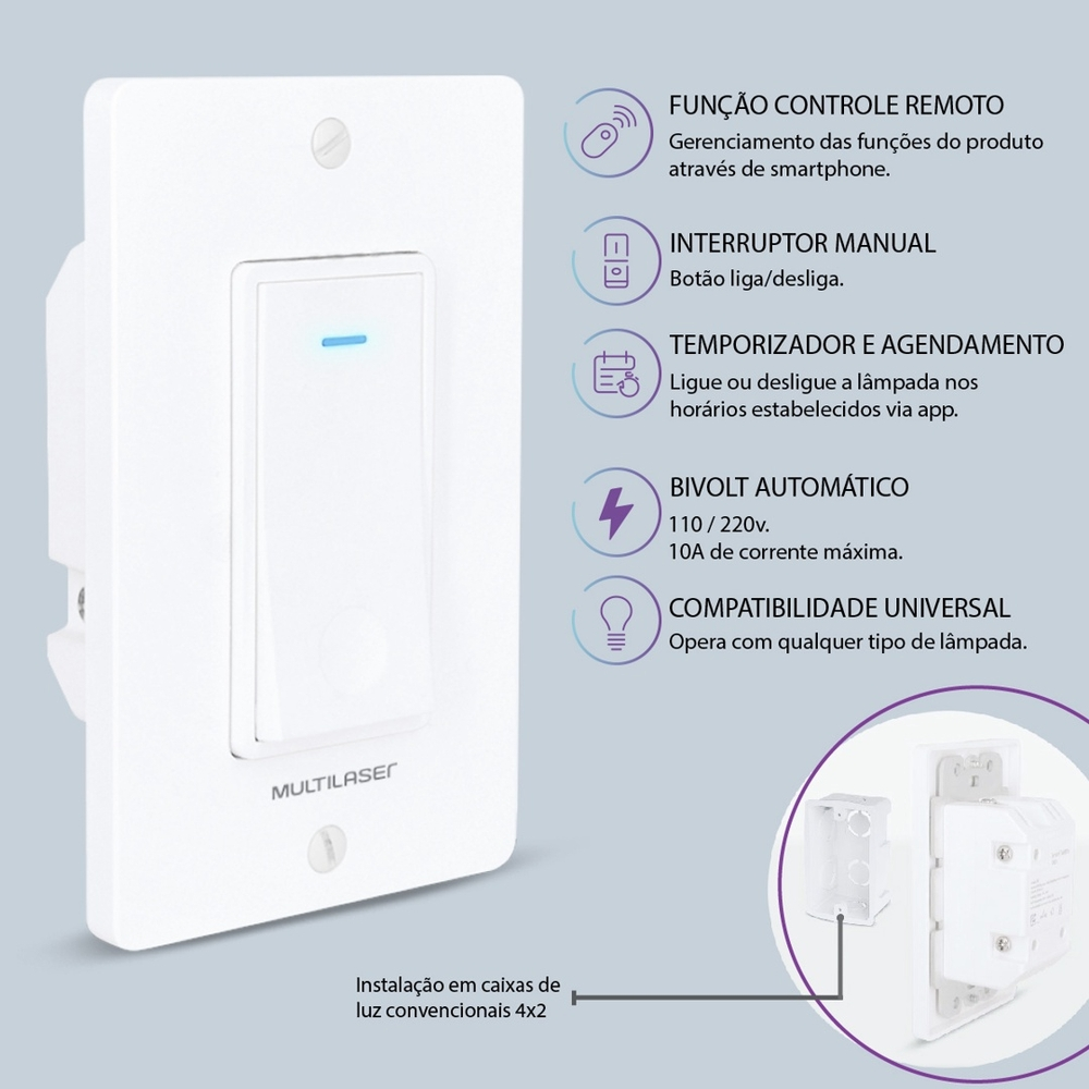 Interruptor Inteligente Wi-fi Multilaser Liv Alexa/goog Home
