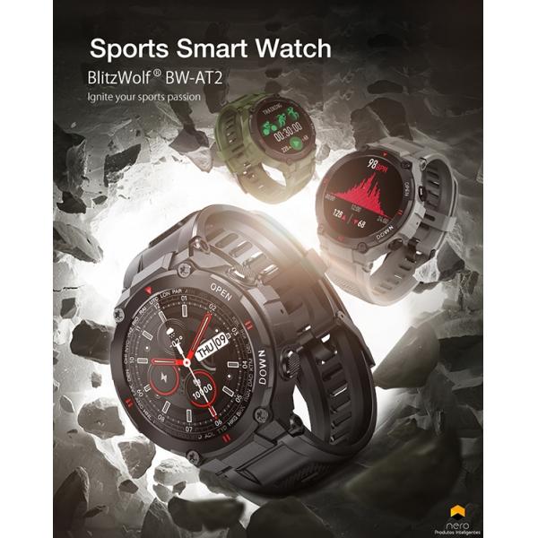 Smartwatch Blitzwolf Bw-AT2. Frequência Cardía/Moni Oxigênio