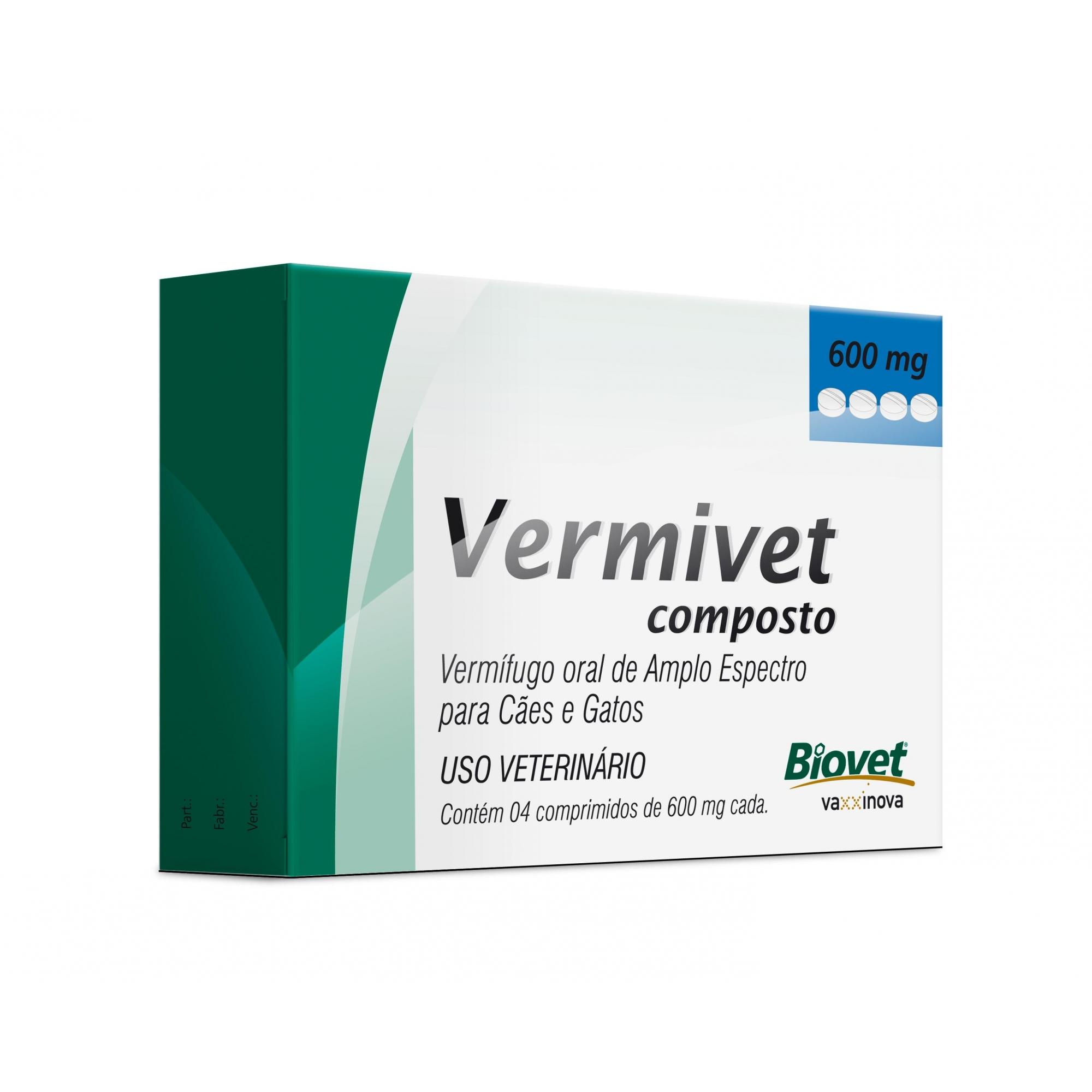 Biovet Vermivet Composto 600mg - 4 Comprimidos