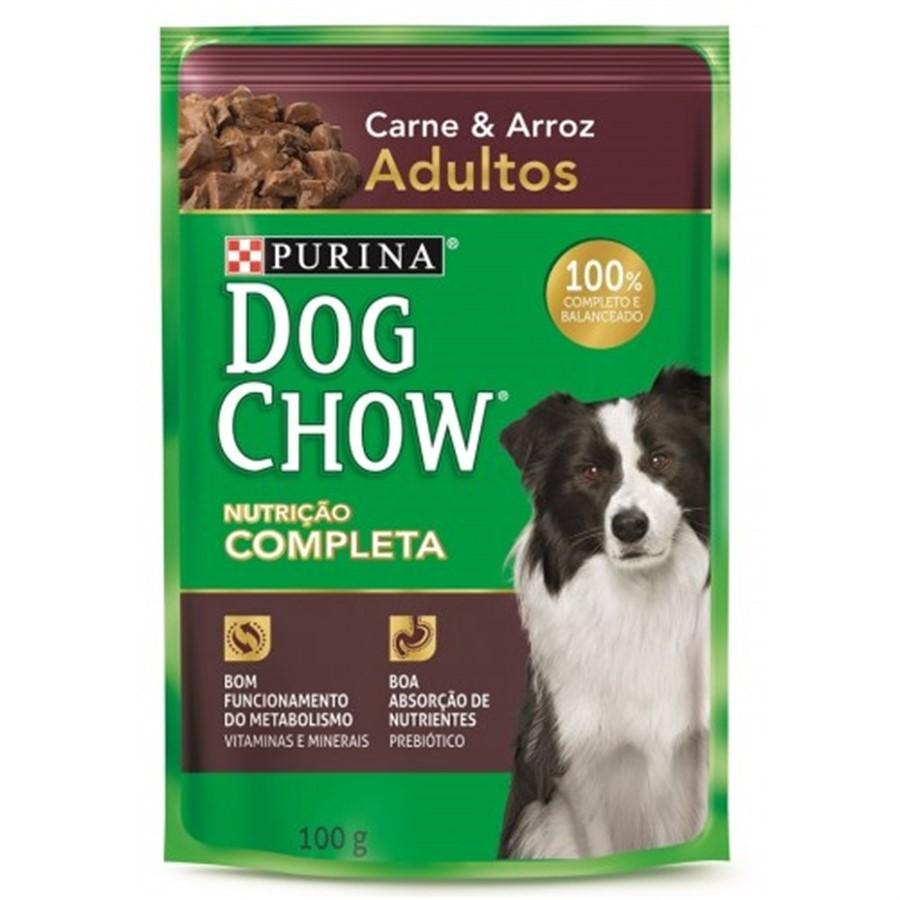 Dog Chow Sache Adultos Carne e Arroz 100g