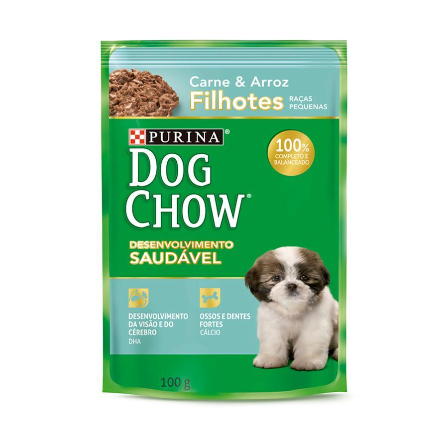 Dog Chow Sache Filhotes R/P Carne e Arroz 100g