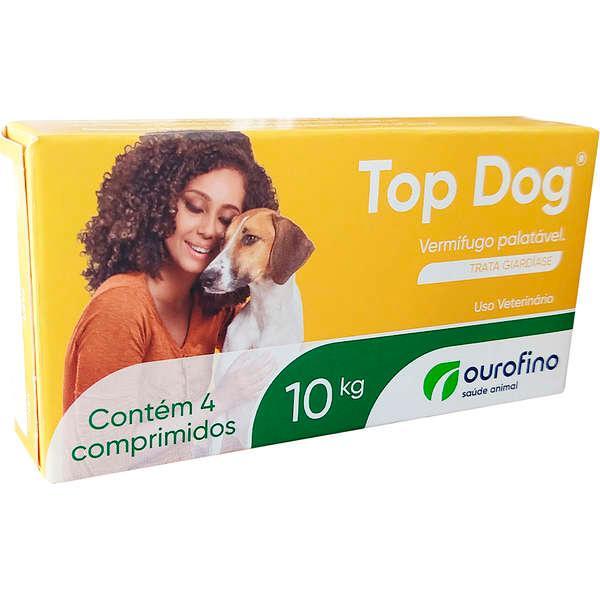 Ouro Fino Top Dog Vermífugo Caes 10kg - 4 Comprimidos