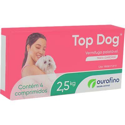 Ouro Fino Top Dog Vermífugo Caes 2,5kg - 4 Comprimidos