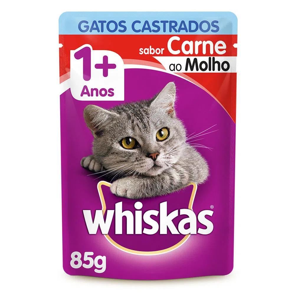Whiskas Sachê Castrados Carne Ao Molho 85g