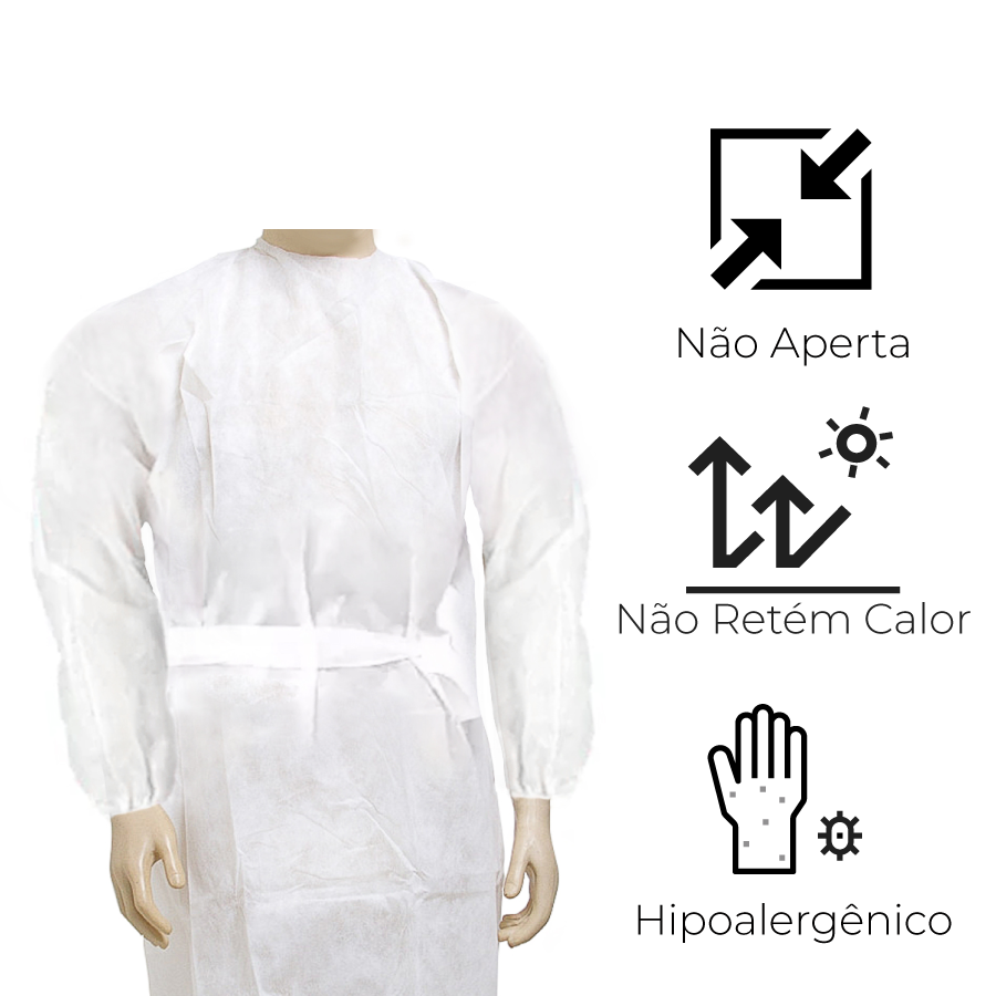 Avental Descartável Comfort Branco MG/LG