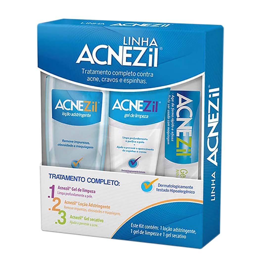 Kit Acnezil Tratamento Completo Sabonete + Loção + Gel Secativo