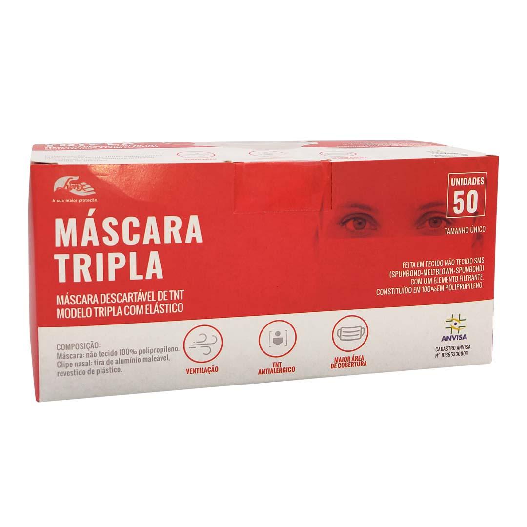 Máscara Descartável Cirúrgica Tripla C/Elástico 50Uni