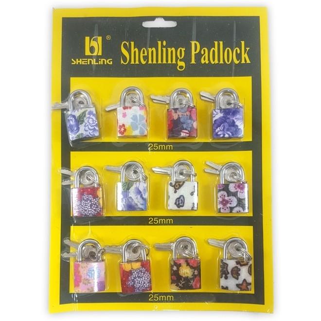 Cadeado 25mm Estampado Kit com 3 Peças 6 Chaves  Shenling Padloc