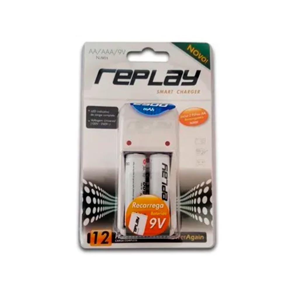 Carregador de Pilhas Com 2 Pilhas AA 2500mAh AA/AAA/ bateria 03O134 Replay/Unicoba
