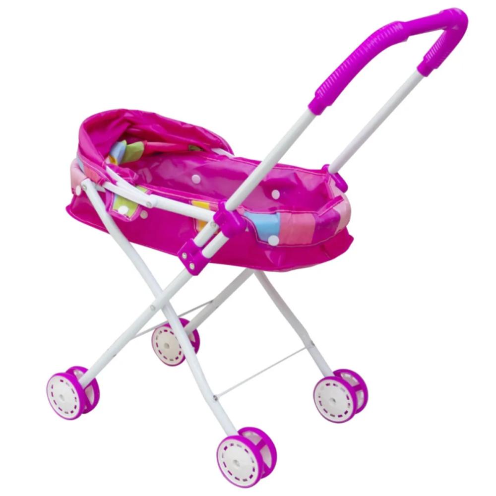 Carrinho de Boneca Infantil 4 rodas Rosa BW098 Importway