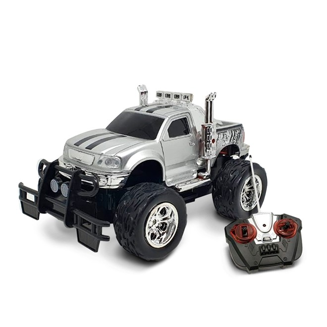 Carrinho De Controle Remoto Recarregavel 26cm Prata Monster Bw026pr Importway