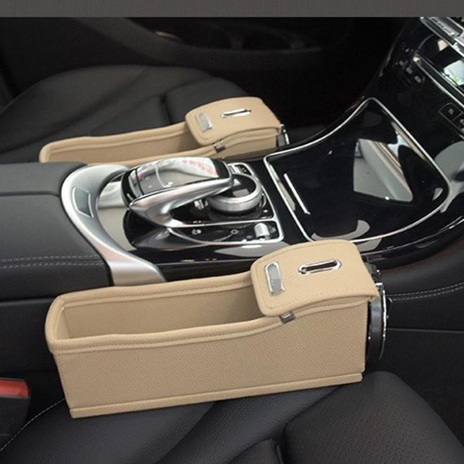 Console Universal para Carro em Couro com Porta Copo Bege