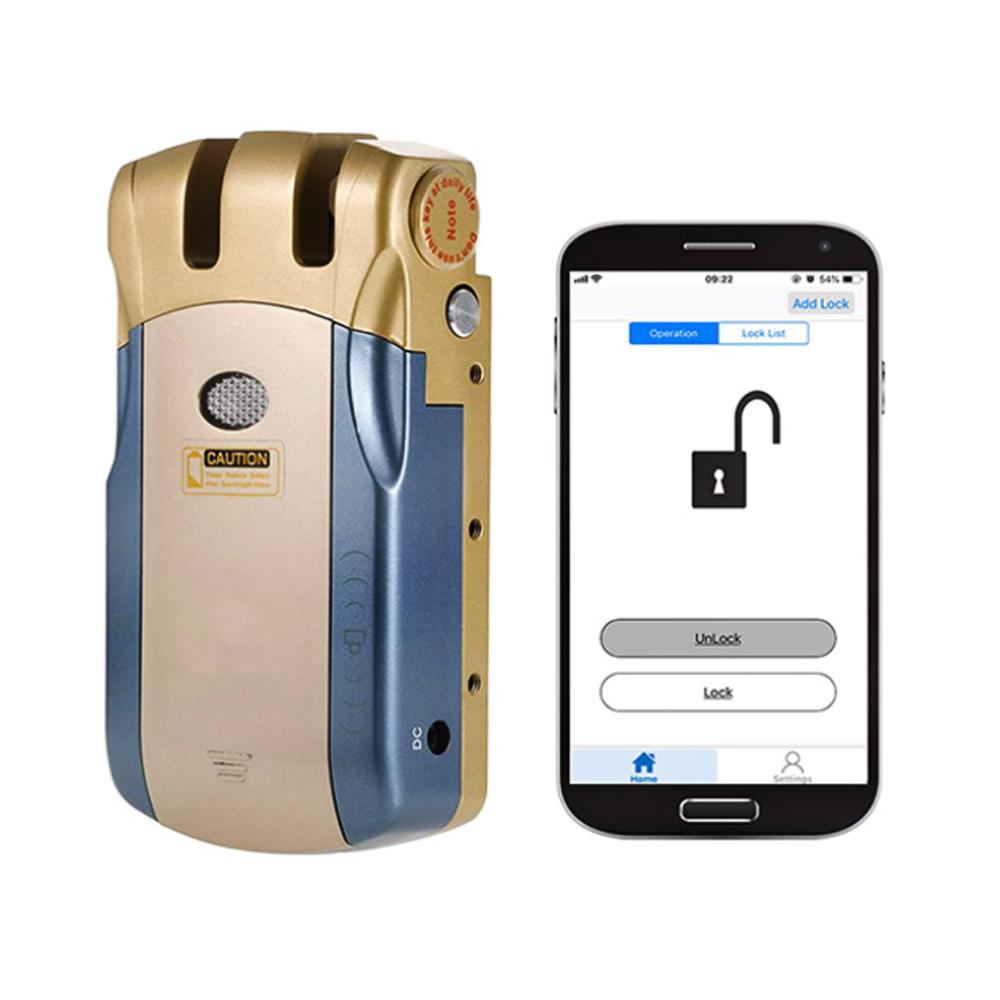 Fechadura Eletronica Digital Biometrica C/ Controle Dourada WF-010U GTA Tech