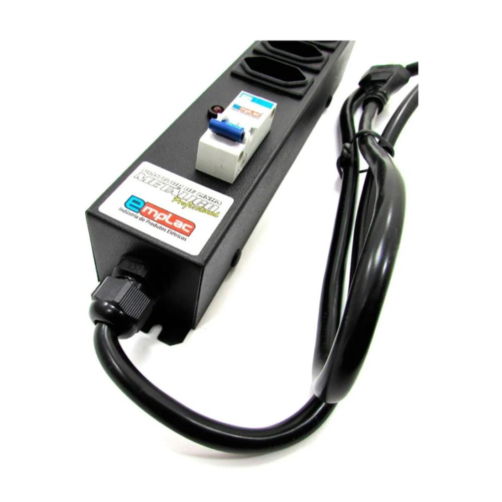 Filtro de Linha Profissional 8 Tomadas 20A C/ Disjuntor F50190 Emplac