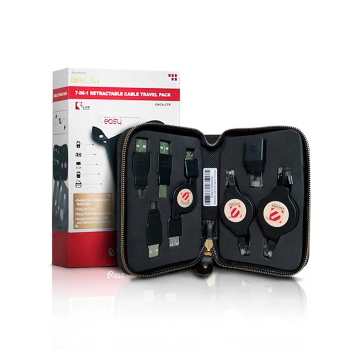 Kit 7 Adaptadores Cabo USB AxB e Rede Retratil Encore ENCA-CTP Encore