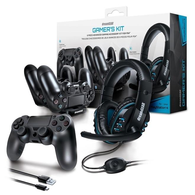 Kit Gamer Para PS4 Headset Carregador Dual Dock Case DGPS4-6436 Dreamgear