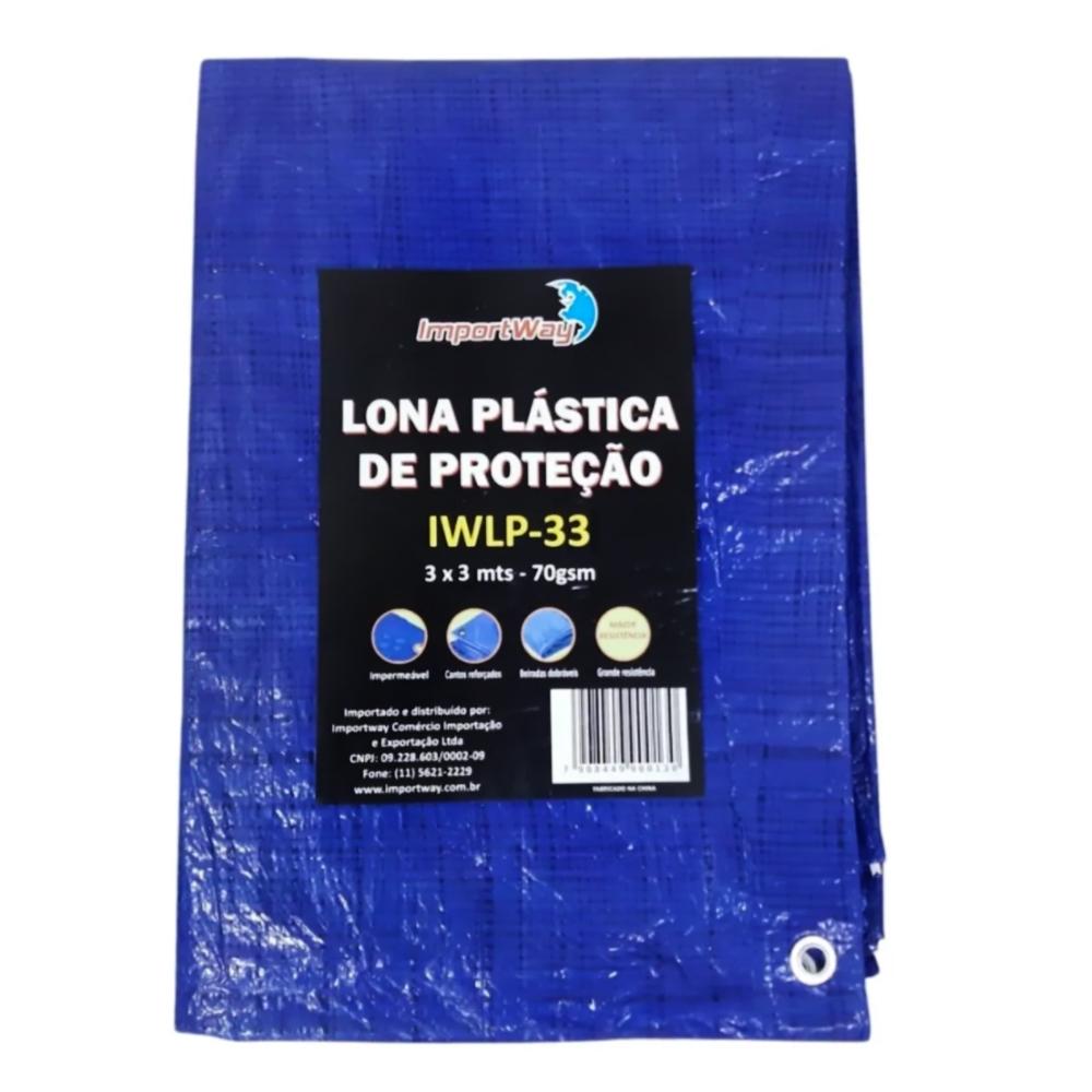 Lona Plástica Impermeável 70gsm 3 x 3 Metros Azul IWLP33 Importway