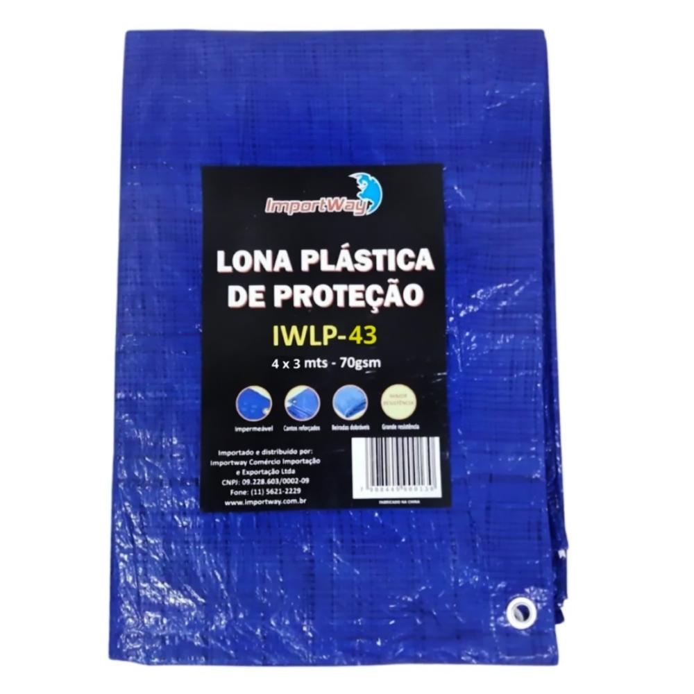 Lona Plástica Impermeável 70gsm 4 x 3 Metros Azul IWLP43 Importway