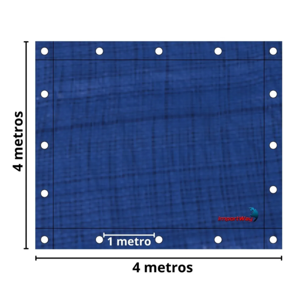 Lona Plástica Impermeável 70gsm 4 x 4 Metros Azul IWLP44 Importway