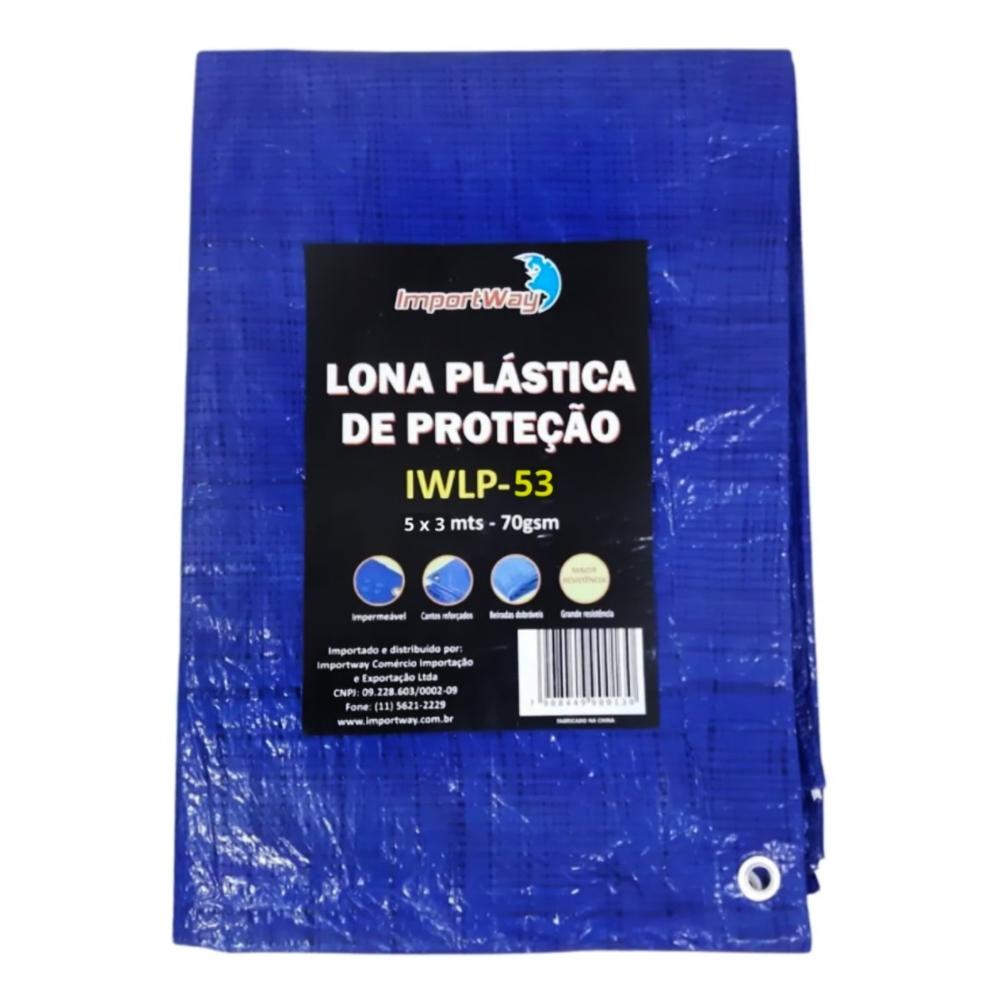 Lona Plástica Impermeável 70gsm 5 x 3 Metros Azul IWLP53 Importway