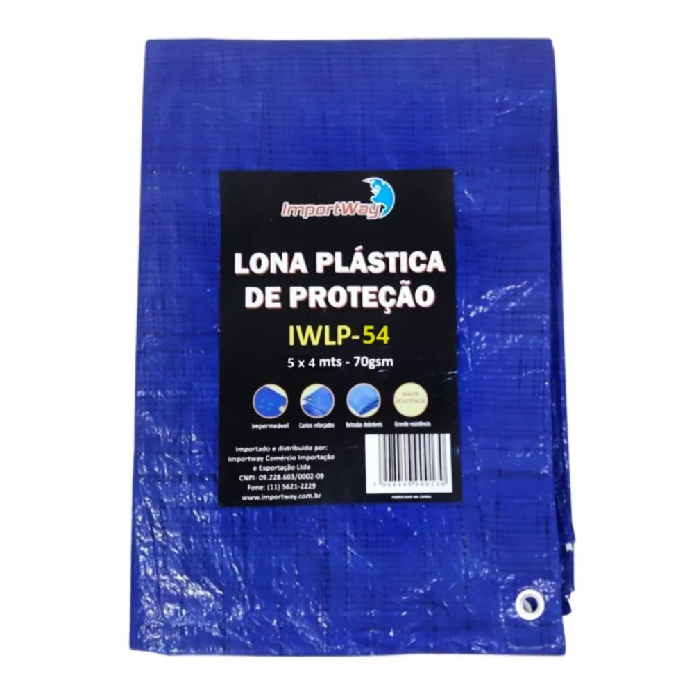 Lona Plástica Impermeável 70gsm 5 x 4 Metros Azul IWLP54 Importway