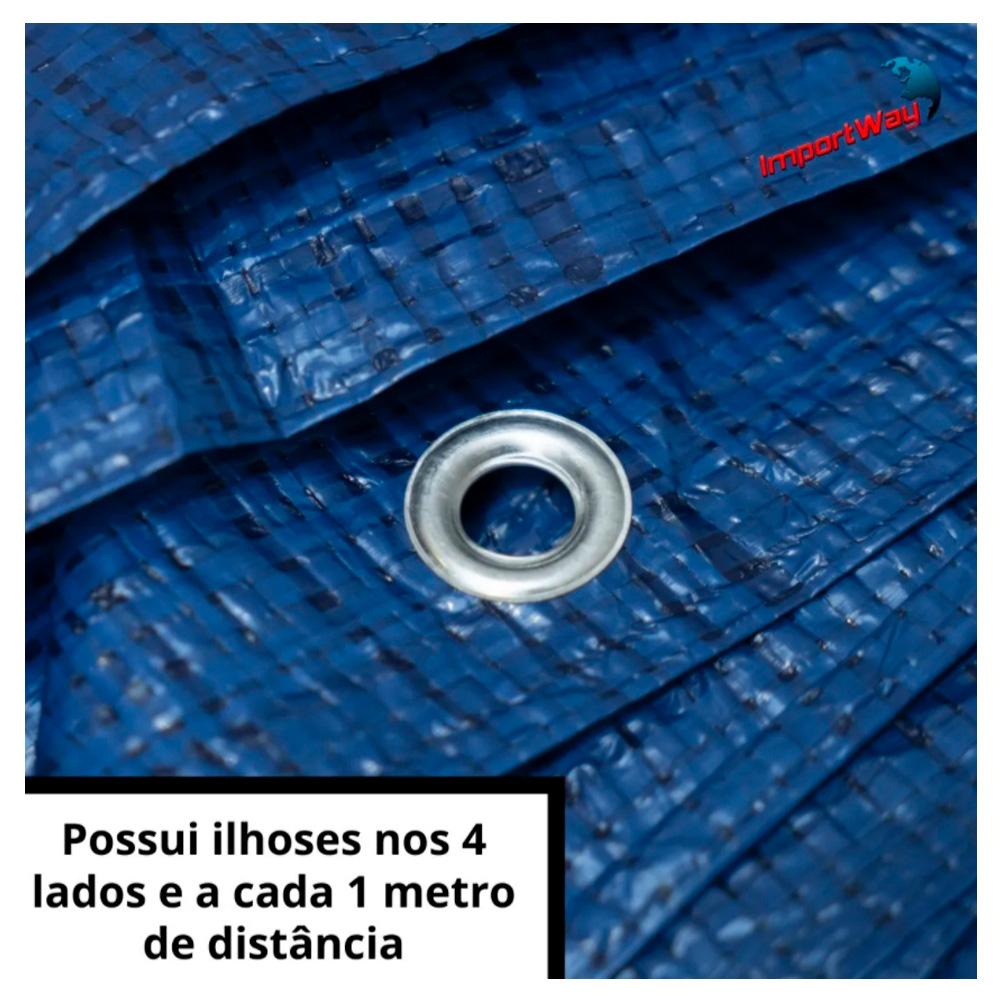 Lona Plástica Impermeável 70gsm 6 x 3 Metros Azul IWLP63 Importway