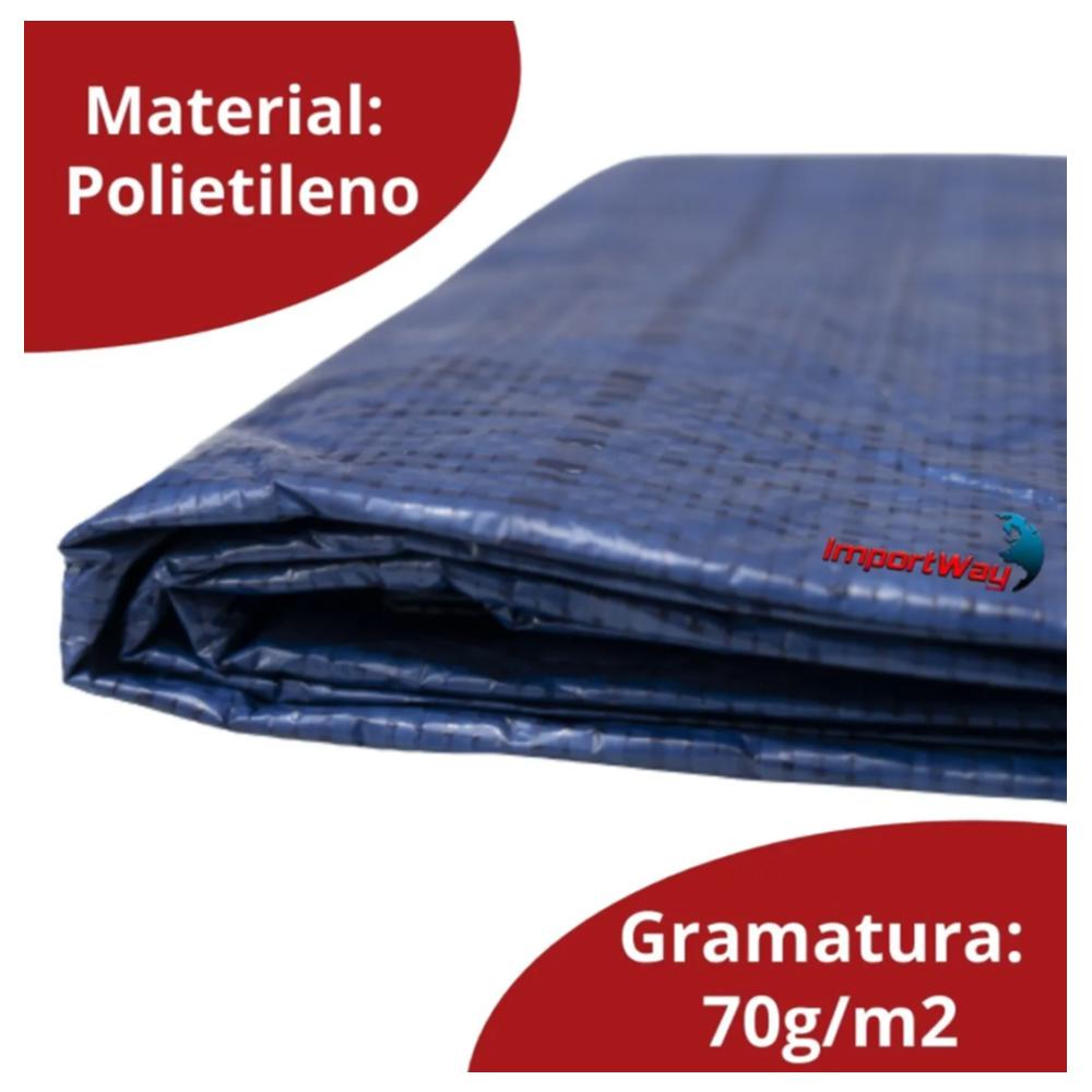 Lona Plástica Impermeável 70gsm 6 x 5 Metros Azul  IWLP65 Importway