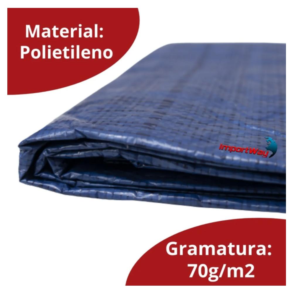 Lona Plástica Impermeável 70gsm 7 x 4 Metros Azul IWLP74 Importway