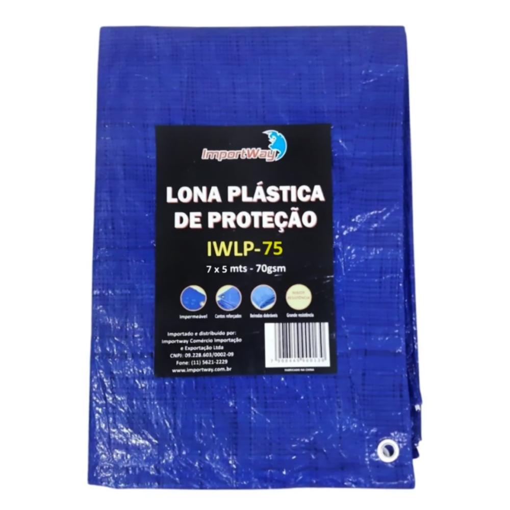 Lona Plástica Impermeável 70gsm 7 x 5 Metros Azul IWLP75 Importway