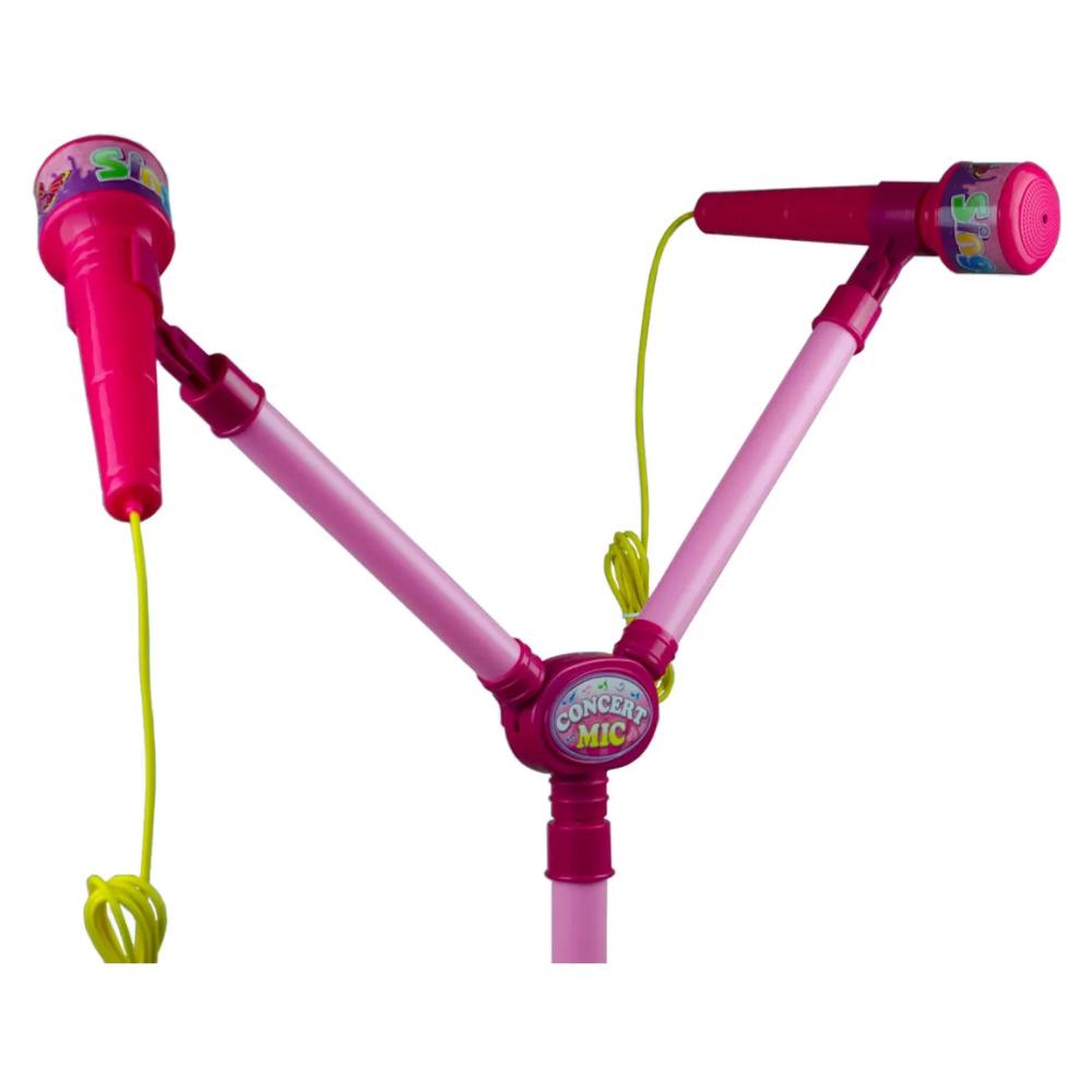 Microfone Duplo Infantil Rosa C/ Pedestal Luzes BW140RS Importway