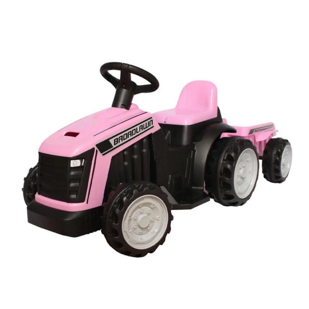 Mini Trator Eletrico 6v Infantil com Reboque Rosa BW079RS Importway
