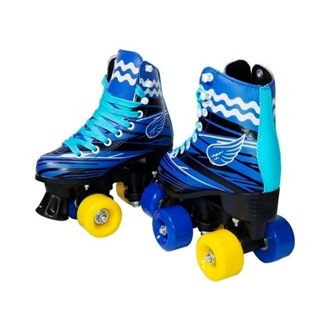 Patins 4 Rodas Roller Classico Azul N.32/33 Com Kit Proteção BW021AZ-32/33 Importway