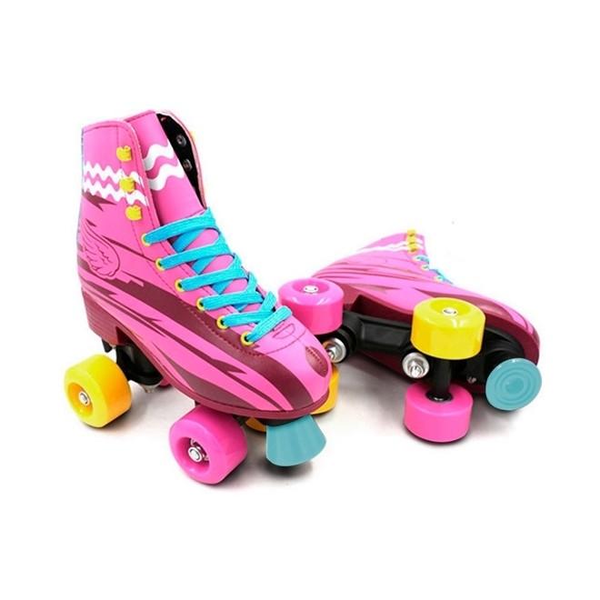 Patins 4 Rodas Roller Classico Rosa N.38/39 Freio Traseiro Bw020r-38/39 Importway