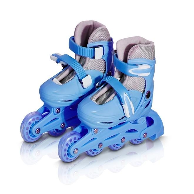 Patins 4 Rodas Roller In Line Azul N.35/38 Com Kit Proteção  BW019AZM Importway
