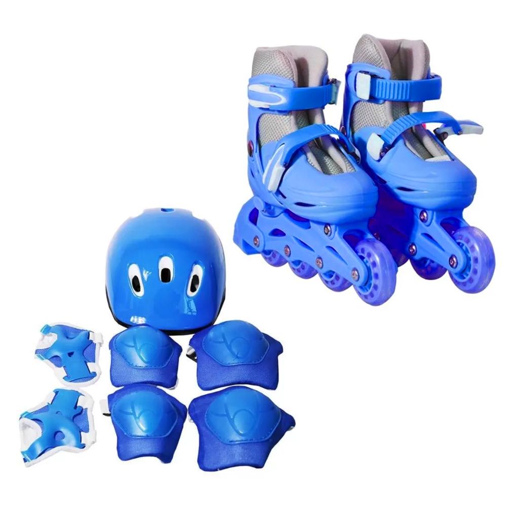 Patins 4 Rodas Roller In Line Azul N.39/42 Com Kit Proteção  BW019AZG Importway