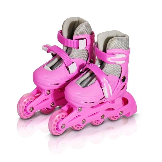 Patins 4 Rodas Roller In Line Rosa N.31/34 Com Kit Proteção  BW019RP Importway