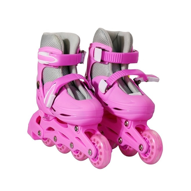 Patins 4 Rodas Roller In Line Rosa N.35/38 Medio BW018RM Importway