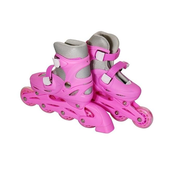 Patins 4 Rodas Roller In Line Rosa N.39/42 Com Kit Proteção BW019RG Importway