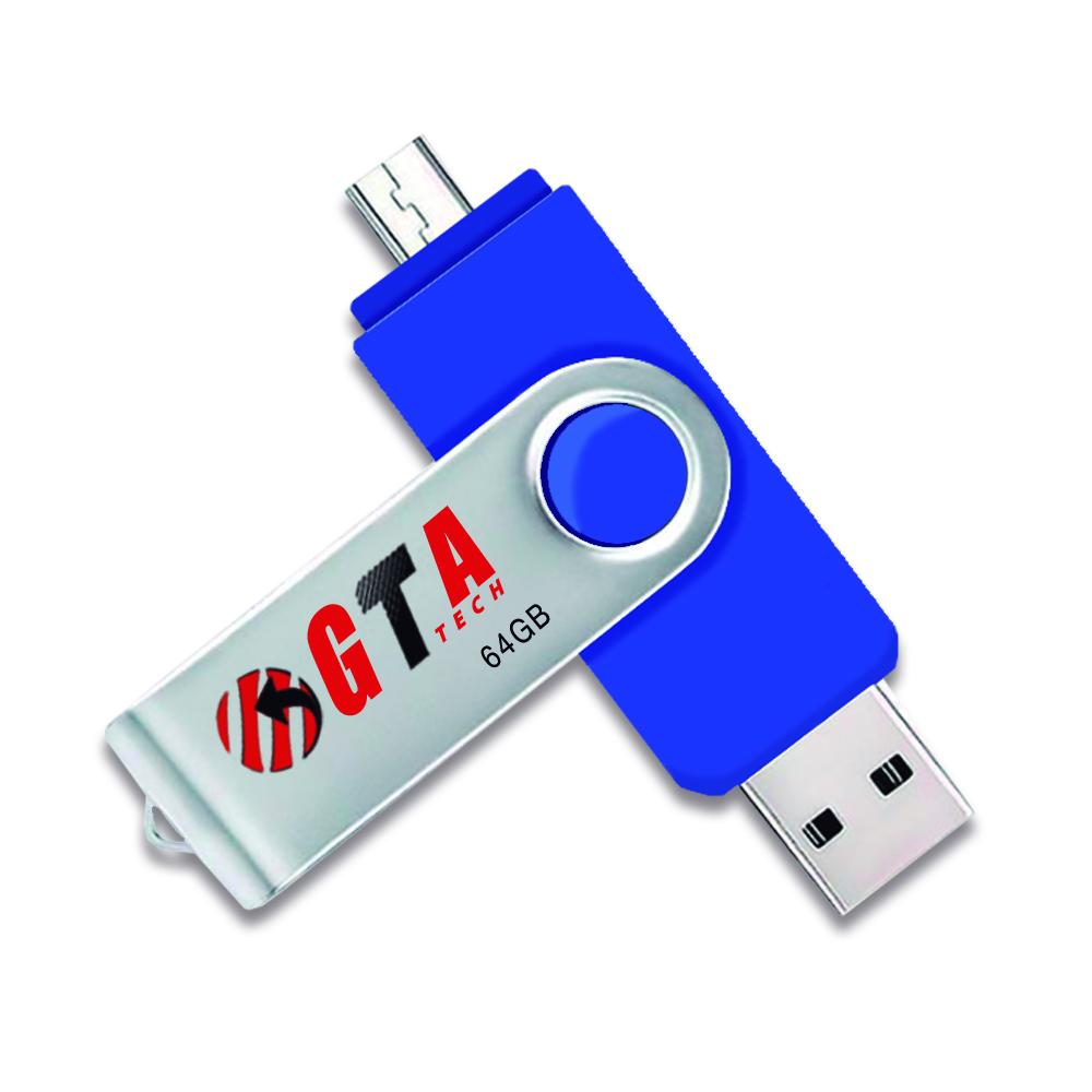 Pen Drive 64gb Usb 3.0 Flash Dual Drive OTG PEN64GB-OTG GTA Tech