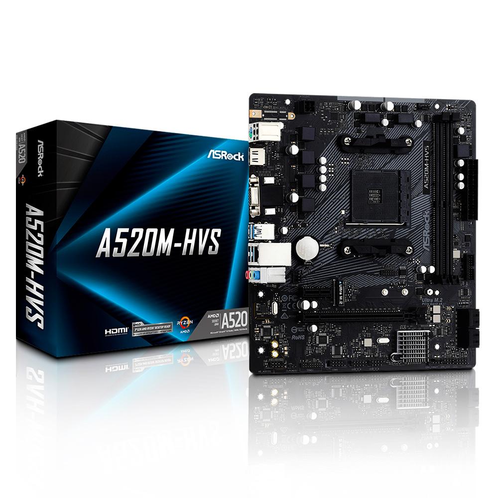 Placa Mae AMD AM4 A520 2xDdr4 Hdmi/Vga A520M-HVS Asrock