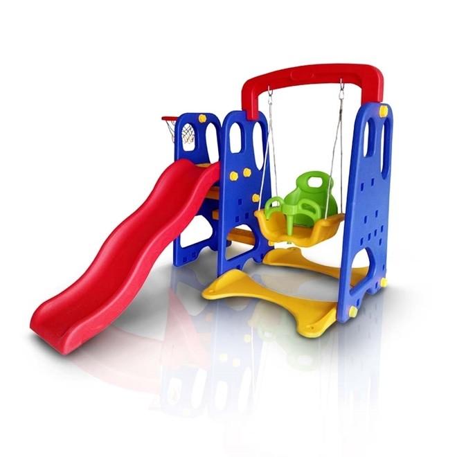 Playground Infantil 3x1 Escorregador Balanço e Cesta IWPI 3x1 Importway