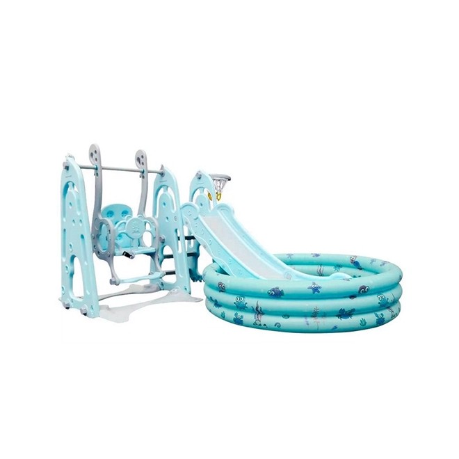 Playground Infantil 4x1 Escorregador Balanço Basquet Piscina BWPLP-4x1AZ Importway