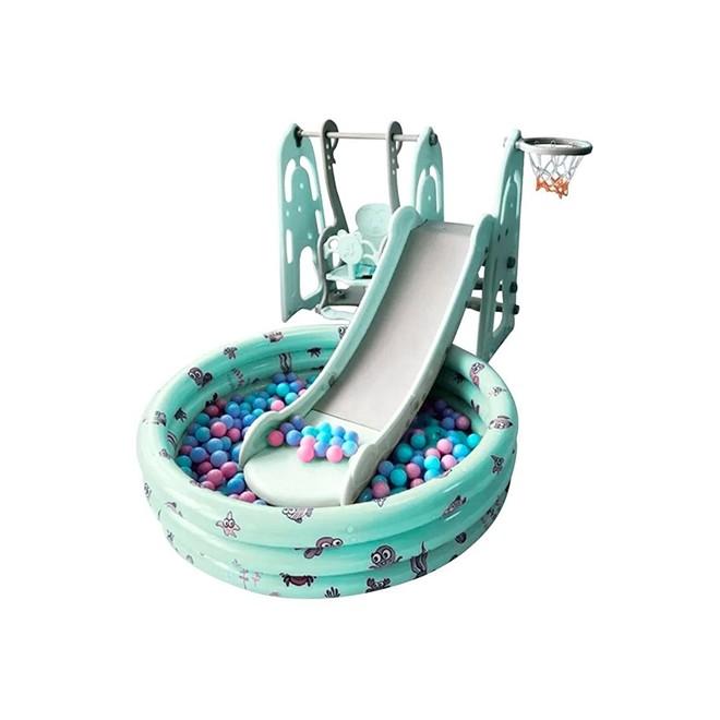 Playground Infantil 4x1 Escorregador Balanço Basquet Piscina BWPLP-4x1VD Importway