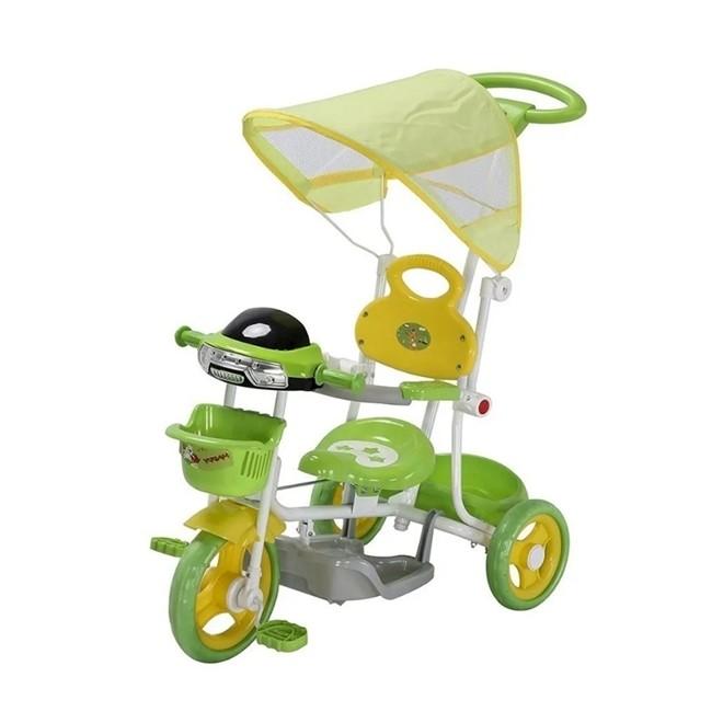 Triciclo Infantil 2 em 1 com Haste e Pedal Verde BW003V Importway