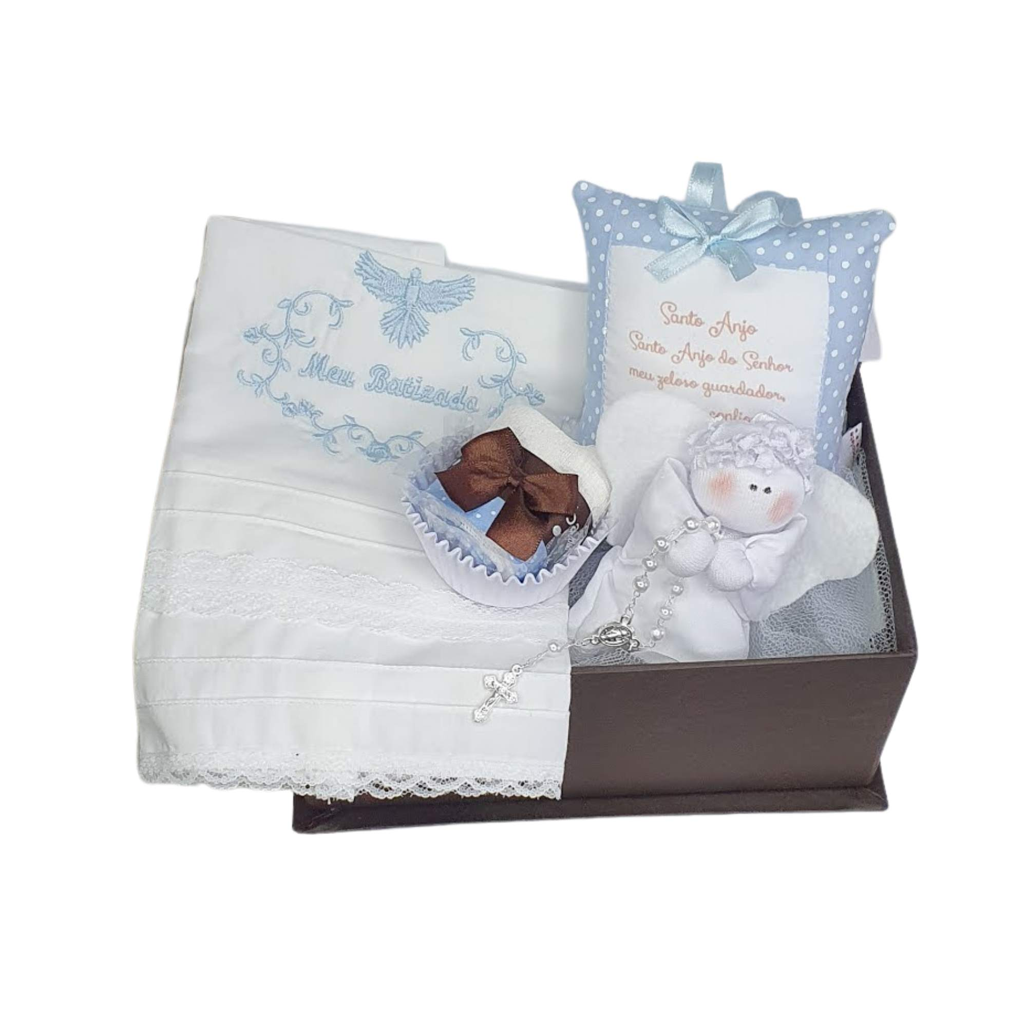 Kit Presente Baby Batismo Azul - 4 peças