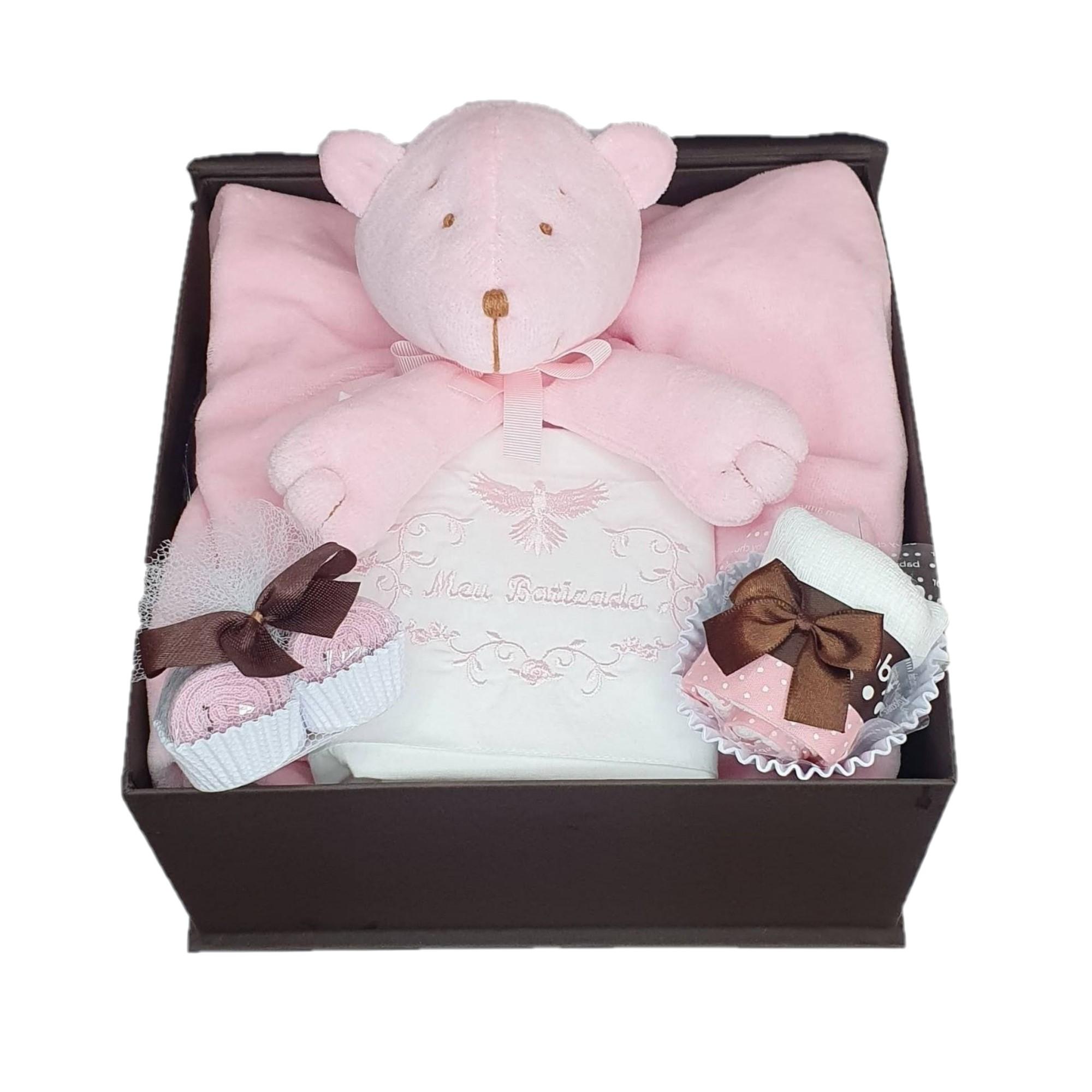 Kit Presente Baby Naninha Batizado Menina - 4 peças