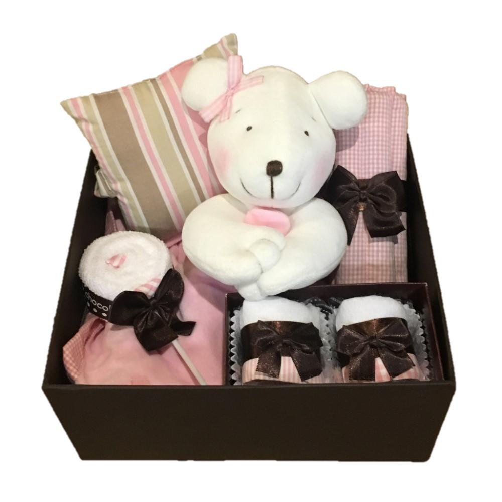 Caixa presente bebê Baby Chocolate Rosa