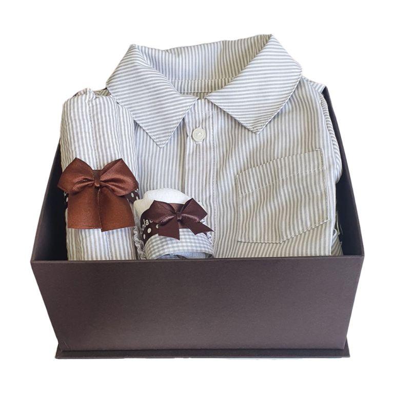 Caixa Presente Bebê Macacão Cinza