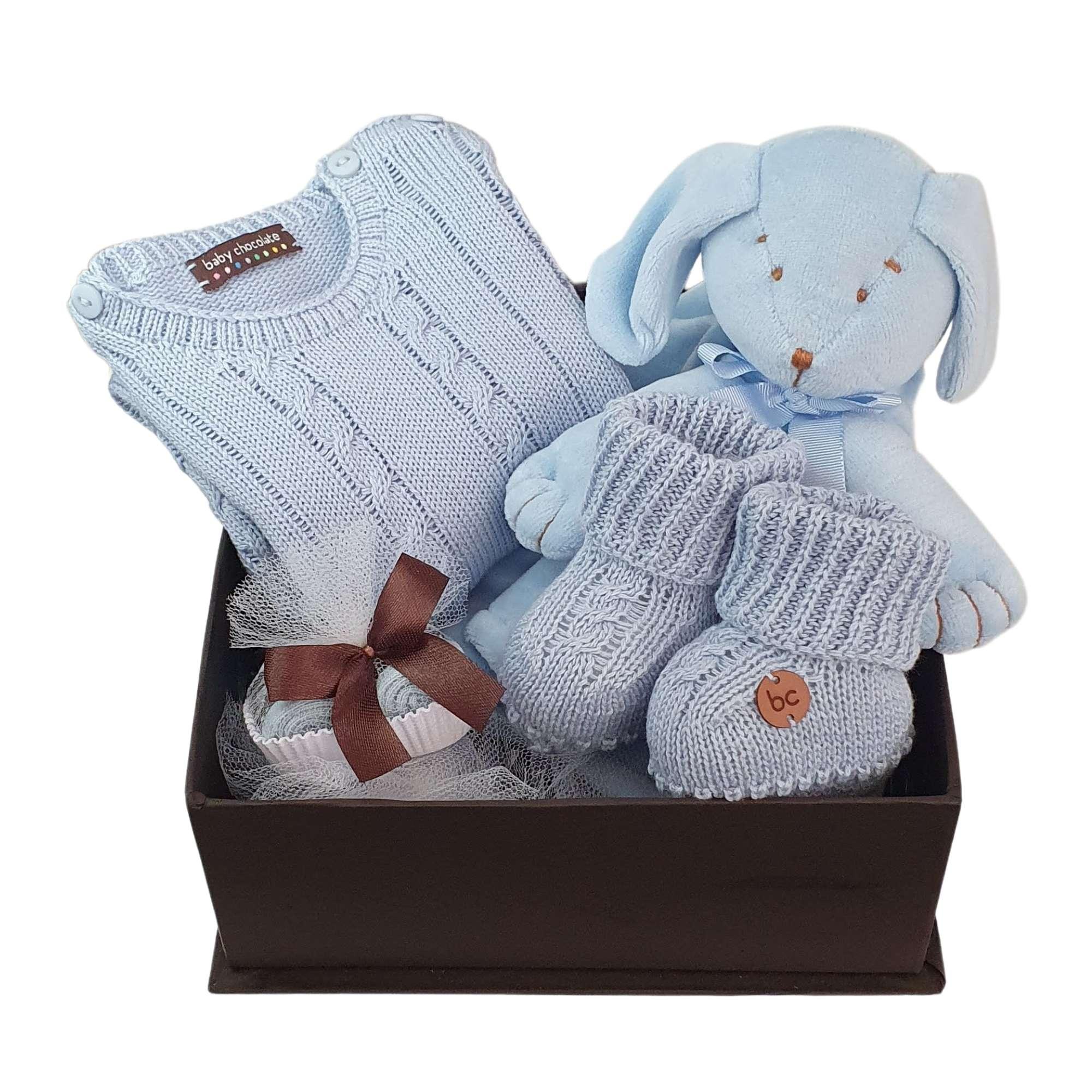 Caixa Presente Bebê Naninha Tricô Azul